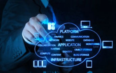 Capito CloudCare - male pointing at PaaS, Iaas cloud with server and devices icons