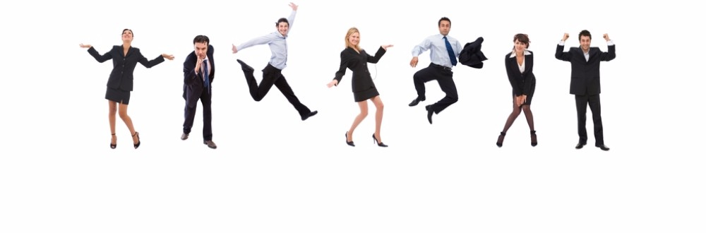 Male and female business people jumping in the air and making poses