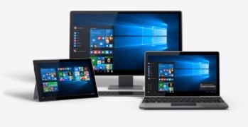 Lap top with Windows 10 image on screen - Capito Win10 adoption event