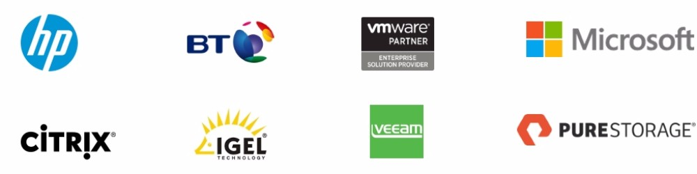 Partner logos - Capito is a Partner of major technology vendors and system integrators. including HP, BT Global Services, Microsoft, VMware, Veeam, Citrix and Pure Storage.