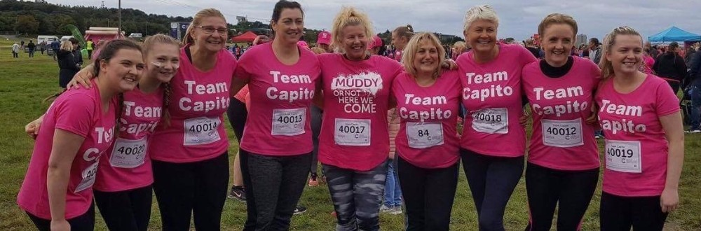 Team Capito, all female, posing for photo before Pretty Mudder 2017